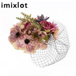 Ретро шляпка невесты Свадебный банкет головной убор вуаль ткань цветок перо головной убор шпилька Марлевое покрытие лицо