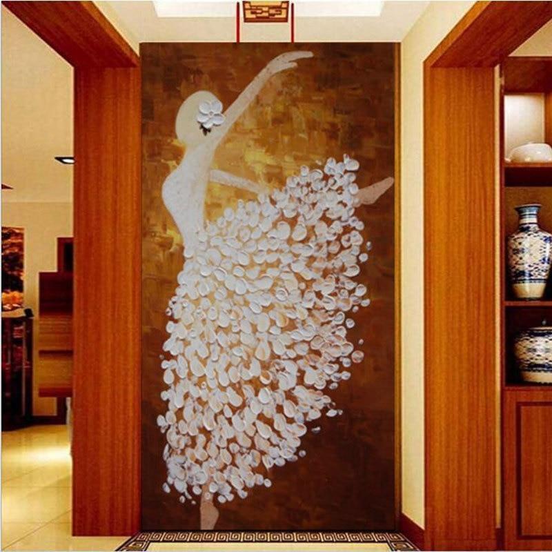 3D Custom Photo Modern Mural Wallpaper Roll For Living Room Hallway Murals Ballerina Girl Oil Painting Bedroom Entrance Decor custom 3d photo wallpaper murals sexy girl beauty oil painting fresco for ktv spa sharon living room corridor door home decor