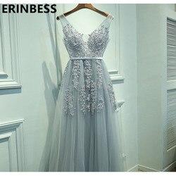 Женское вечернее платье, серое Тюлевое платье с треугольным вырезом, вечерние платья с аппликацией, реальное фото, 2019