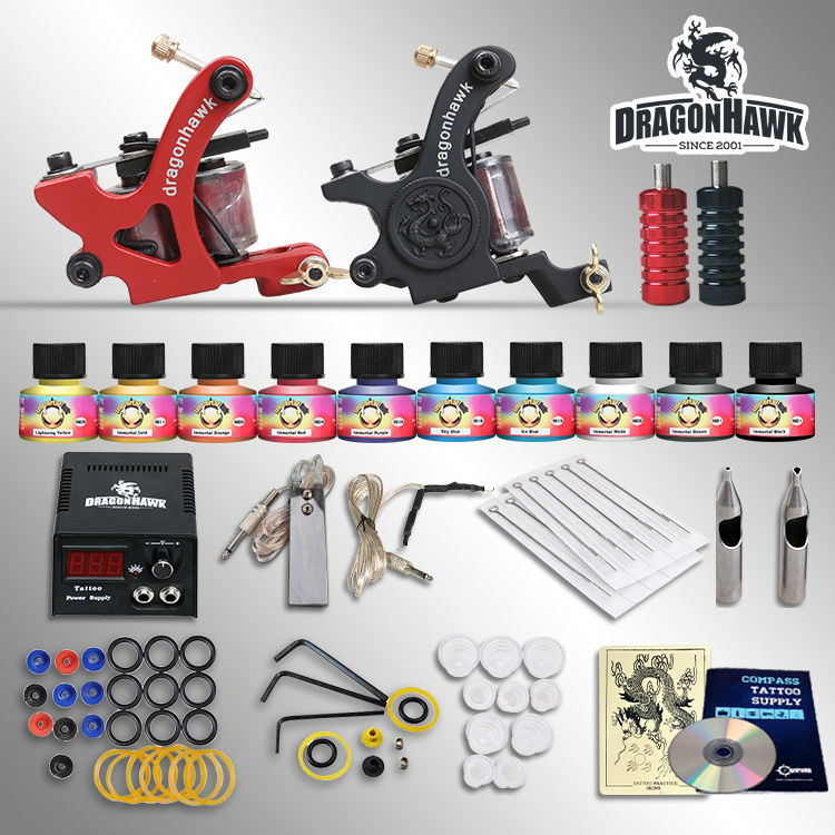Beginner tattoo starter kits 2 machines European dedicated power supply 10 SetImmortal Tattoo Inks tattoo kit professional a little trouble in california level starter beginner