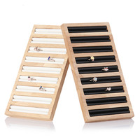 Superier Bamboo 9 Cells Ring Display Tray Jewelry Showing Case Ring Holder Organizer Earring Show Rack Earring Display Case