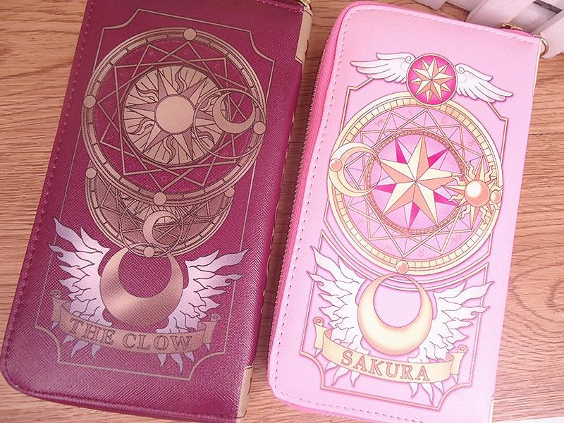 Takerlama New Cosplay Anime Card Captor Sakura Women Wallets Female Cards   Holders Envelope Bag Cartoon Long Wallets With Zippe