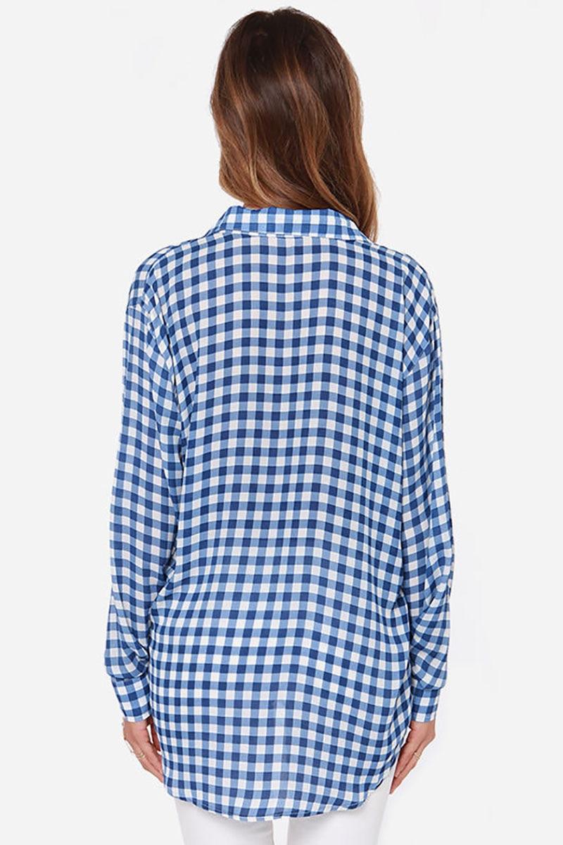 Boyfriend style plaid shirt ladieswear long big size women blouses ...