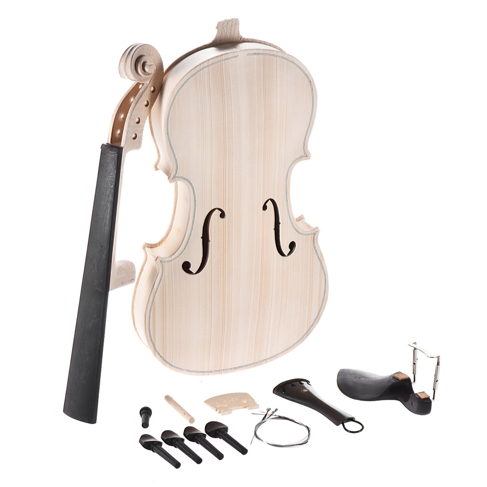 DIY 4 4 Full Size Natural Solid Wood Acoustic Violin Fiddle Kit with EQ Spruce Top