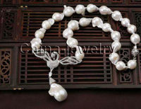 P6661 19 24mm natural white Reborn Keshi baroque freshwater pearl necklace GP