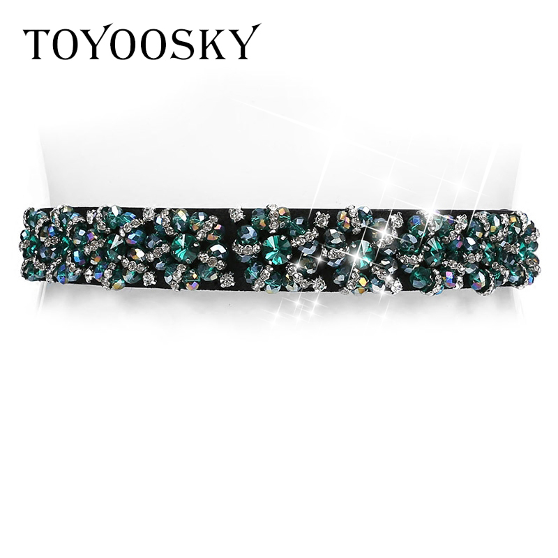 2018 New Arrival Designer Luxury Crystal Elastic Women Wide   Belt   with rhinestone Elegant   belts   for women High Quality TOYOOSKY