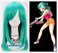 Free Shipping Women Bulma Medium Long Straight Teal Green Cosplay Party Full Wig+a wig cap