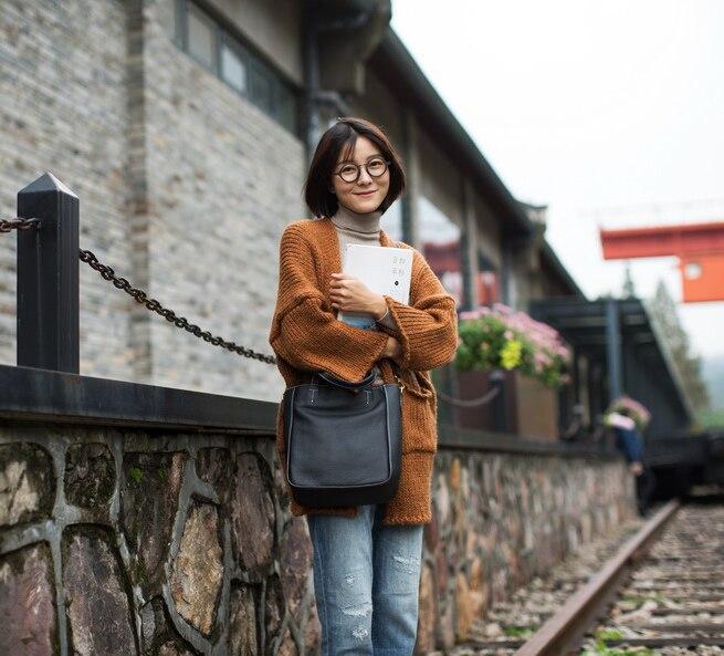 EMMA YAO naiste nahast käekotid mood korea ostukott brändi daamid - Käekotid - Foto 2