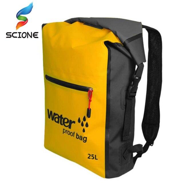 25L Outdoor Waterproof Swimming Bag Backpack Bucket Dry Sack Storage Bag Rafting Sports Kayaking Canoeing Travel Waterproof Bag Men Gym loads bags