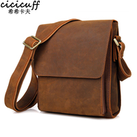CICICUFF Flap Shoulder Bag Mens Crazy Horse Leather Messenger Bags Travel Men Genuine Leather Bag for Mini ipad Vintage Brown