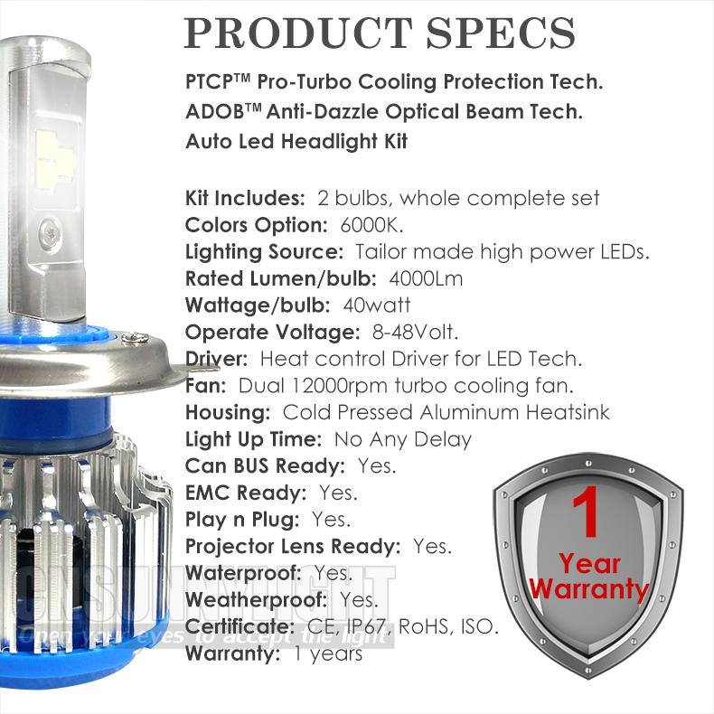 Car LED Headlights H7 H4 H1 H3 H11 H8 H9 HB3 9005 HB4 9006 880 9012 H13 8000LM Super Bright Replacement LED Bulb Kit White 6000K (6)