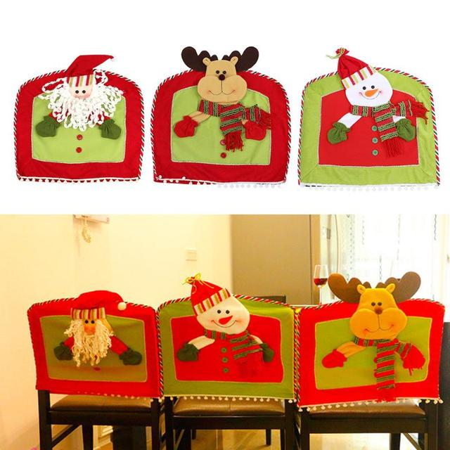 Christmas Santa Claus Snowman Chair Covers Dining Room Cover Seat Back Coat Home Party