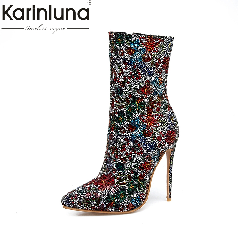 KARINLUNA 2017 Plus Size 33-48 Pointed Toe Women Shoes Woman Sexy Thin High Heels Wedding Boots Winter Colorful Party Footwear gzx101206 fashion woman thin high heels pu pump lady plus big size sexy pointed toe shoes woman wedding shoes t strap 10cm 12cm