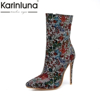 KARINLUNA 2017 Plus Size 33-48 Pointed Toe Women Shoes Woman Sexy Thin High Heels Wedding Boots Winter Colorful Party Footwear