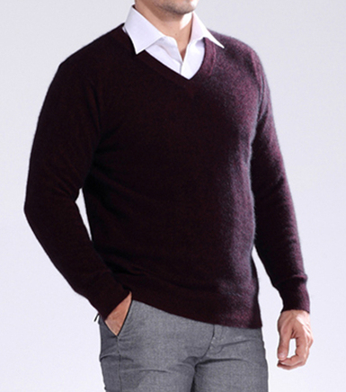 NEW Sale Standard Solid Pullovers Full Sleeves V-Neck  Mink Cashmere Auturm & Winter Men Formal Knitted Sweater
