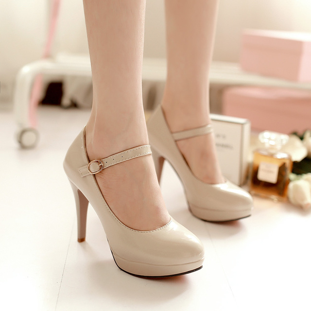 Big size 34-43 women's shoes high heels platform pumps shoes woman patent leather buckle sapatos femininos ladies shoes 2017
