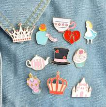 SMJEL Baru Kue Jins Kerah Alice in Wonderland Bros Kartun Set Crown Puri Enamel Pin Roda Badge pins Gadis hadiah(China)