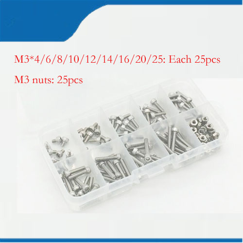 250pcs/set M3*5/6/8/10/12/14/16/20/25mm Hex Socket Head Cap Screw Stainless Steel M3 screw Accessories Kit Sample box 250pcs set m3 5 6 8 10 12 14 16 20 25mm hex socket head cap screw stainless steel m3 screw accessories kit sample box