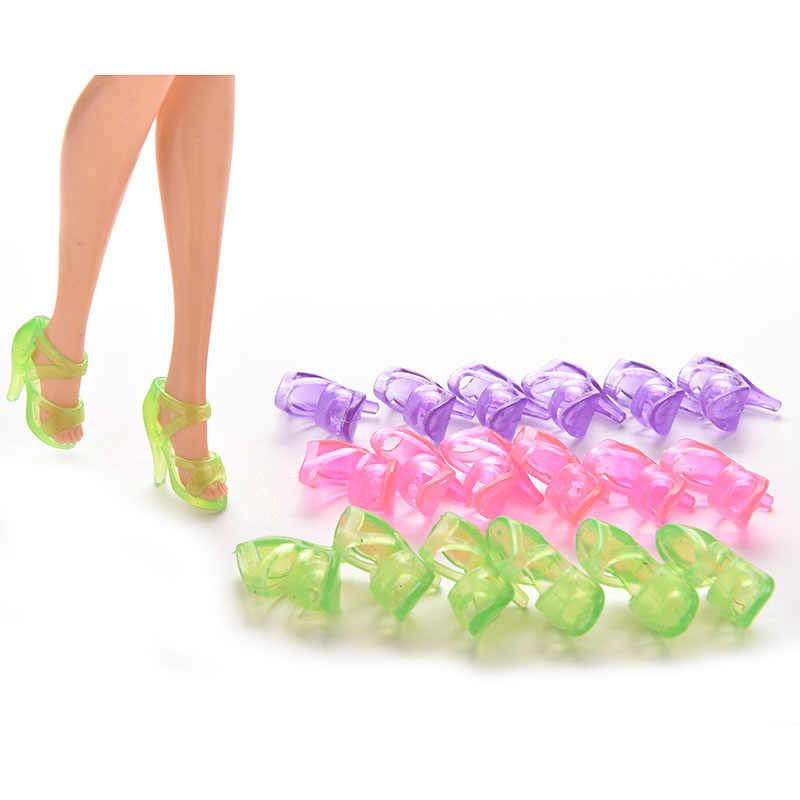 שקיפות יפה מיני בובת נעלי אופנה צבעוני בובת אביזרי נעלי עקבים סנדלי עבור בובות 10 זוגות