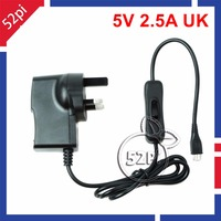 Raspberry Pi 3 Model B 5V 2.5A Power Supply Adapter UK Plug Charger with ON/OFF Switch Cable