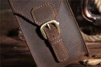 Men Genuine Leather Mobile Phone Cover Case Pocket Hip Belt Pack Waist Bag Father Gift For