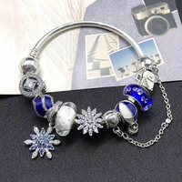 Top Quality 100% 925 Silver Snowflake Charm Bracelet Chain Jewelry Winter Collection Blue Series Beautiful Gift Bangle For Women