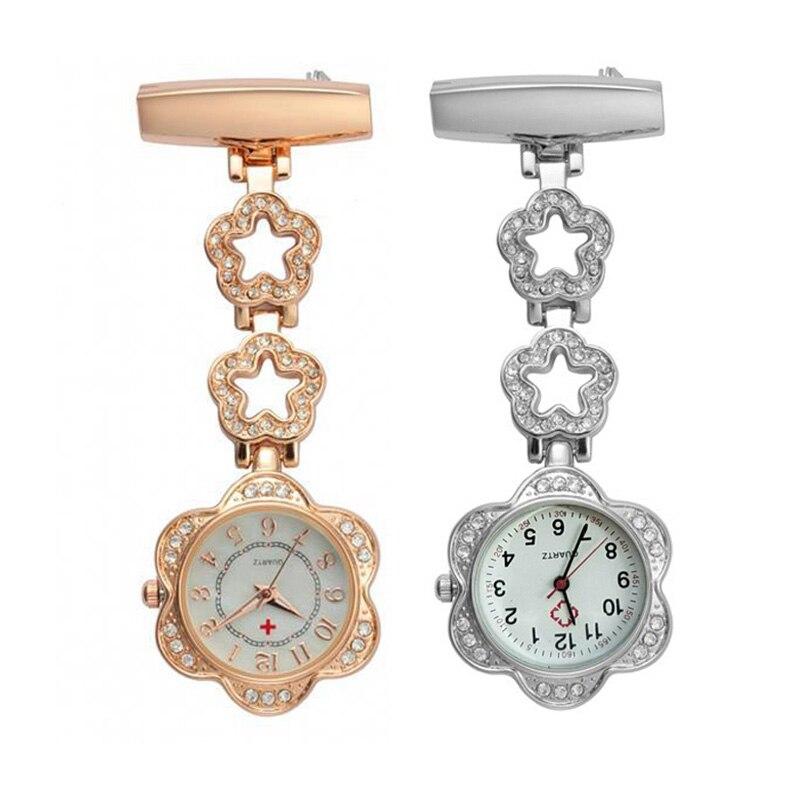 1bb43a8b203 Clip-on Women Pocket Watch Fob Quartz Brooch Hanging Nurse Pin Watch  Crystal Hollow Star