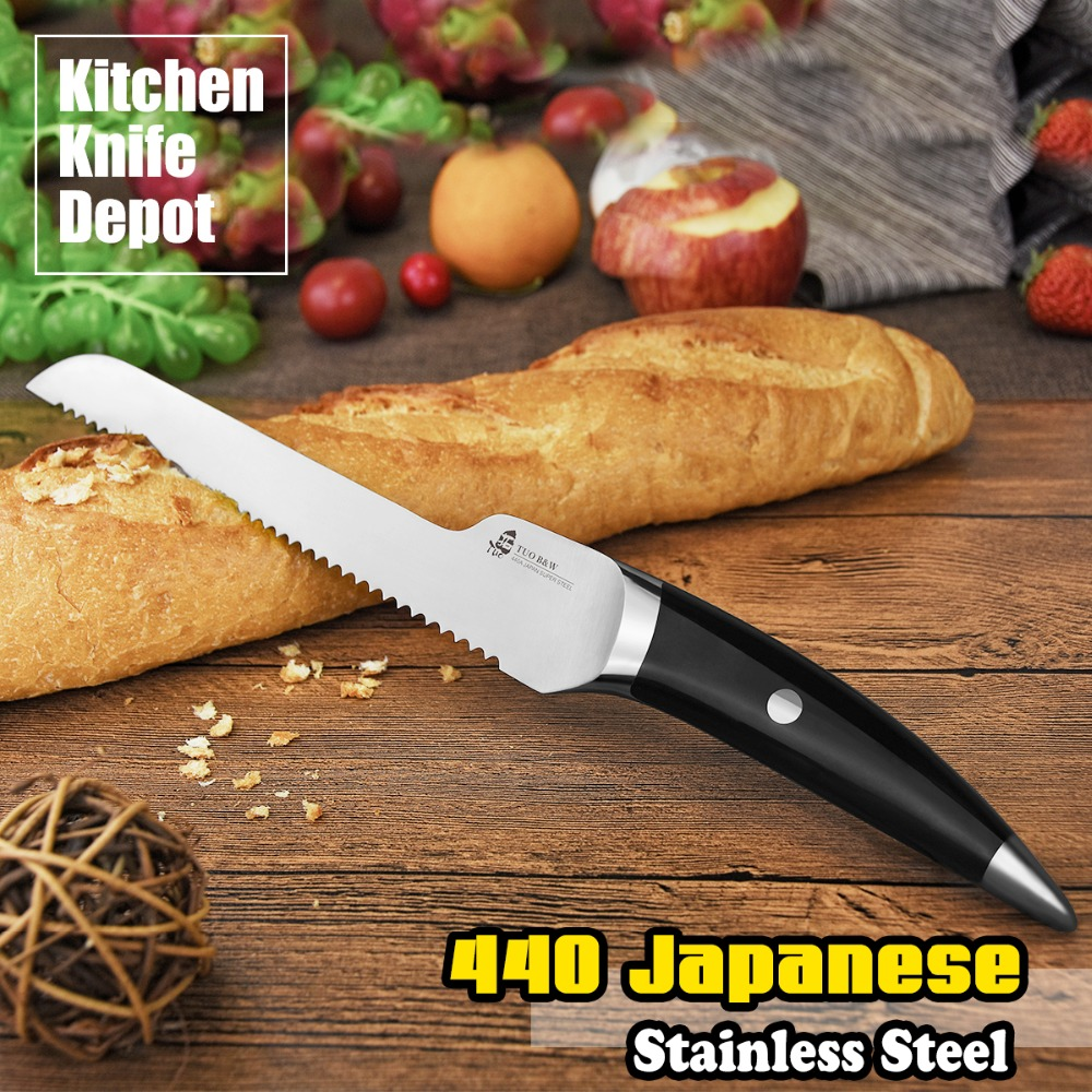 compare prices on kitchen cutting knives online shopping buy low bread knife 440 japanese steel tuo cutlery b w series 8 inch handle home kitchen cooking chef