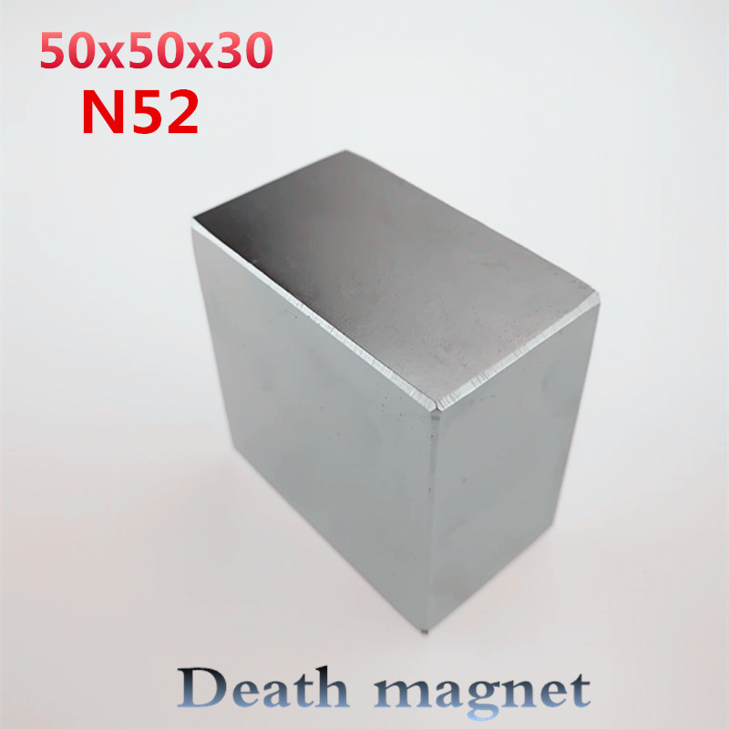 1 unids N52 de 50x50x50x30mm Super fuerte de alta calidad imanes de tierras raras imán de neodimio de 50*50*30mm, 50x50x50x30mm