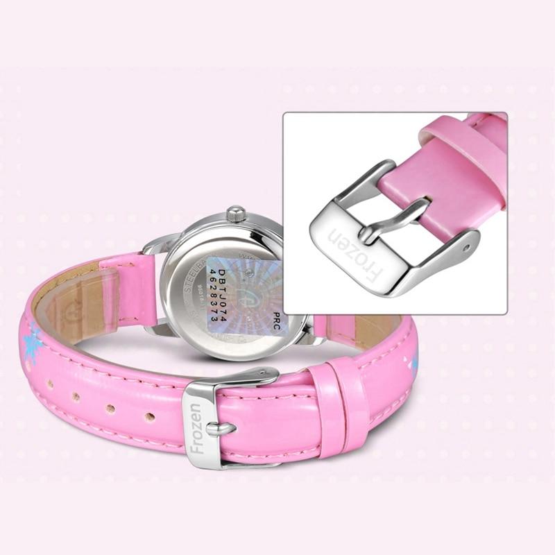 Холодное сердце Эльза принцесса милашки девушки кожа кварц розовый синий горный хрусталь мода простой часы дисней дети ребенок студент часы
