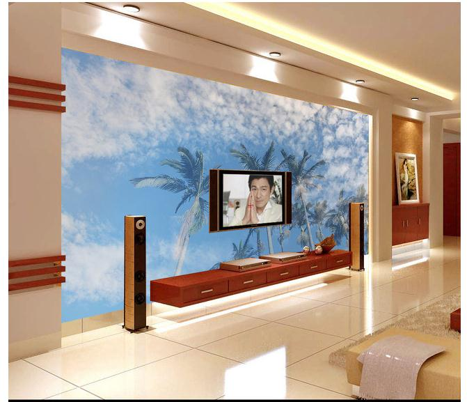 8382d66ae 3D خلفية مخصصة جدارية 2015 السماء الزرقاء سحابة بيضاء التلفزيون جدار  الإعداد من palm trees الجمال غير خلفية قماش غرفة الديكور