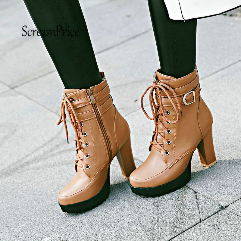 Ladies Fashion Combat Boots Chunky High Heel Ankle Boots Lace Up Side Zipper Winter Shoes Woman woman wedge heel ankle boots 2015 the latest autumn winter fashion zipper pumps boots cross straps woman wedge heel ankle boots