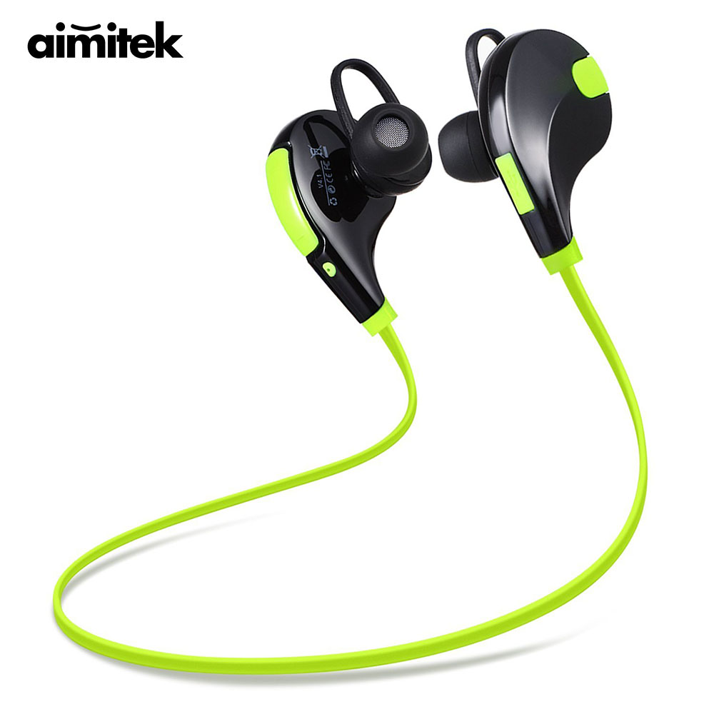 Aimitek Bluetooth Earbuds Headset Olahraga CSR Wireless Headphone Stereo Handsfree Earphone dengan MIC untuk iPhone Smartphone