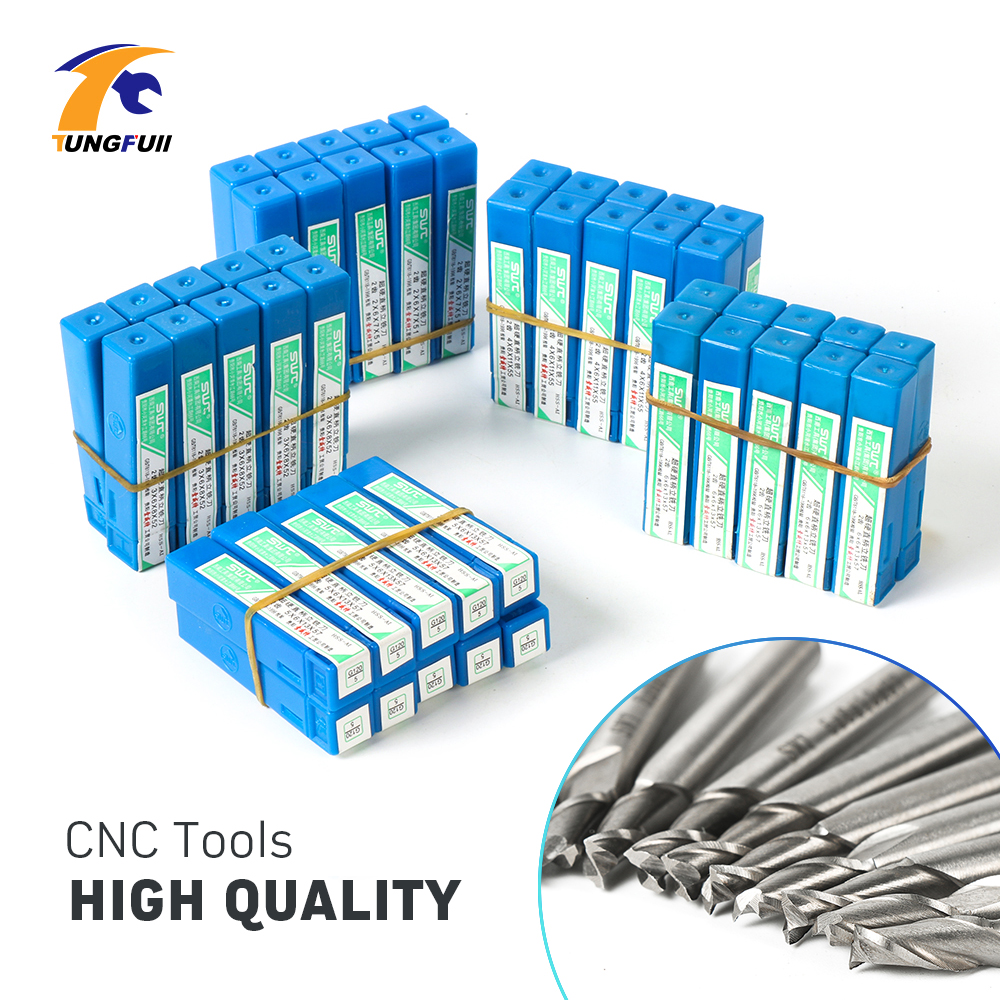 Tungfull 50Pcs Milling Cutter CNC End Mill Wood Cutter CNC Tools Equipment Milling Machine Wood Carving High Quantity engraving machine tools lace knife woodworking milling cutter tools for wood furniture metal aluminium stainless steel end mill
