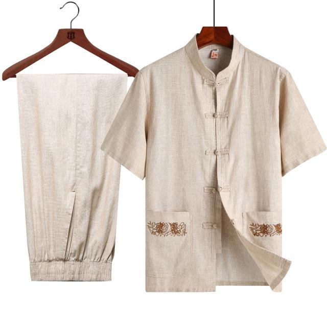 Summer Short Sleeve Shirt&Pant Set Chinese Men Mandarin Collar Tai Chi Tang Suit Traditional Kung Fu Clothes Plus Size 3XL 4XL