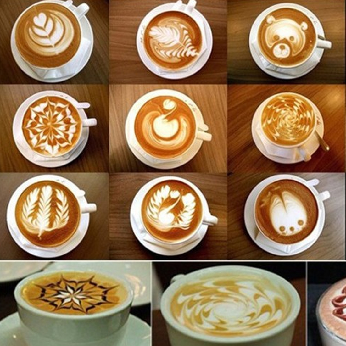 16 X Coffee Stencil Set Perfect For