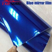 50CM * 100/200/300/400/500 CM/rulo yüksek gerdirilebilir koyu mavi krom ayna vinil Wrap sac rulo Film araba Sticker çıkartması levha