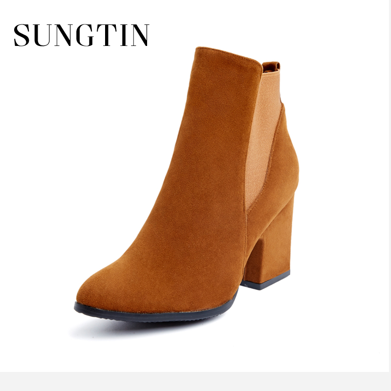 Sungtin Cow Suede Casual Chelsea Boots Plus Size Winter Plush Warm High Heel Women Ankle Boots Short Riding Boots Ladies Booties цена 2017