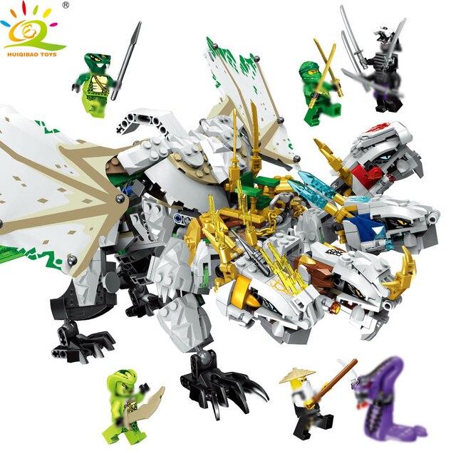 HUIQIBAO TOYS 1100pcs Ninjagoed Ultra Dragon Building Blocks Compatible legoing Ninjaed Lloyd Figure Bricks set For Children Boy