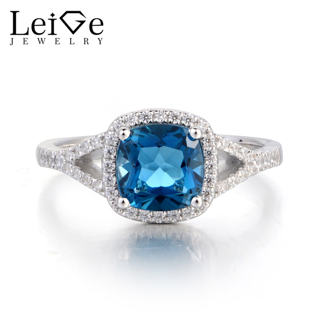 Us 73 8 40 Off Leige Jewelry London Blue Topaz Ring Wedding Ring 925 Sterling Silver Ring Cushion Cut Blue Gemstone November Birthstone For Her In