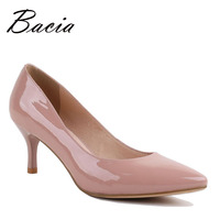 Bacia Full Season Daily Women Shoes Patent Genuine Leather Pumps 6 3cm High Heels Female Office