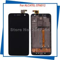 For Alcatel OT6012 6012 Touch Screen LCD Display With Frame Black Color 100 Guarantee Mobile Phone