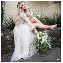 Simple Wedding Dress Champagne Long Sleeves Lace-top Plus size Elegant Floor Length Buttons Vestido De Novia Playa