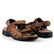 Summer 2016 Men's Leather Sandals Men Casual Sandals Slippers Breathable Hollow Tide Beach Slippers SIZE 39-44 Free Shipping