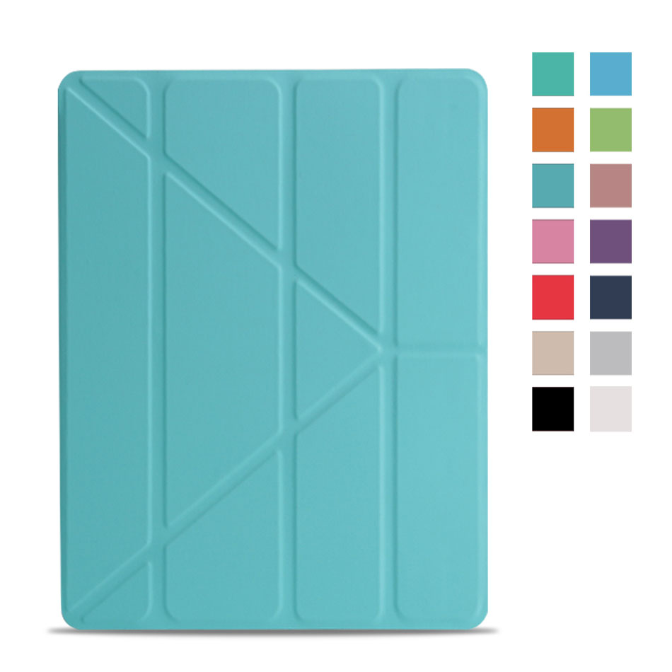 Multi-folded Tablets Case For iPad 234 Smart Protective Cover PU+PC Connection Translucent PC Hard Tablet Case For iPad 4 Case-2