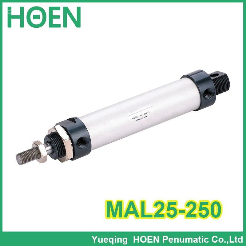 MAL25-250 Alta qualidade cilindros de duplo efeito pneumático pequeno 25 milímetros diâmetro 250 milímetros curso da liga de alumínio mini cilindro de ar