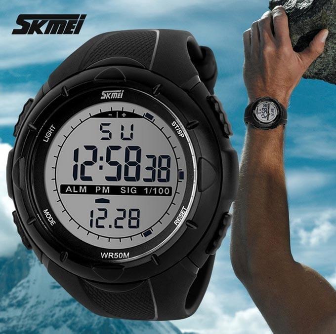 18 New Skmei Brand Men LED Digital Military Watch, 50M Dive Swim Dress Sports Watches Fashion Outdoor Wristwatches 10
