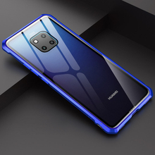 For Huawei Mate 20 Pro Bumper Case Aluminum Metal Frame with Clear Tempered Glass Back Cover for Lite 20X
