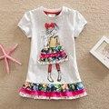 2016 menina de varejo verão vestido de mangas curtas-cute girl decalques dos desenhos animados tutu vestido de algodão gola redonda com mangas curtas SH3660