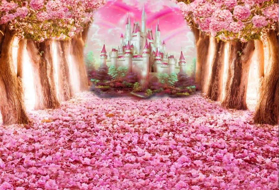 Laeacco Pohádka Lesní strom Květiny Hrad Rainbow Fotografie - Videokamery a fotoaparáty - Fotografie 3